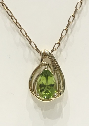 Pear Peridot Yellow Gold Fancy Necklace